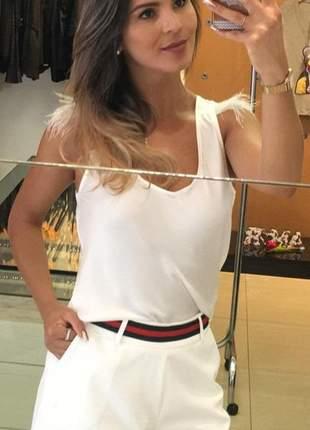 Short feminino cintura alta alfaiataria