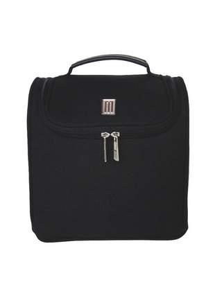 Bolsa térmica fashion premium média lona com couro - mille - preta