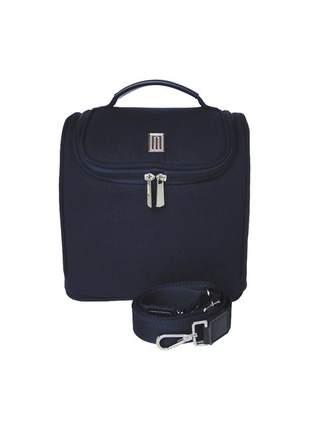 Bolsa térmica fashion premium média lona com couro - mille - marinho
