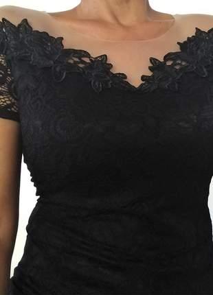 Blusinha feminina blusa com renda e tule charmosa