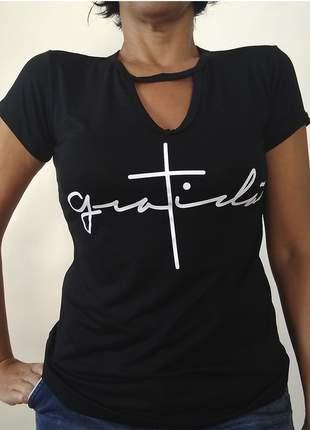 Blusinhas femininas t-shirt básica gratidão