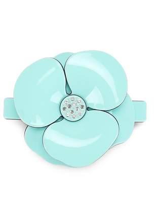 Presilha de cabelo em acetato - flor camélia azul tifanny