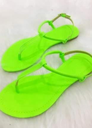 Sandália rasteira neon verde limão - 30205