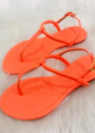 Sandália rasteira neon laranja - 30205