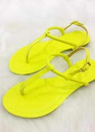 Sandália rasteira neon amarelo - 30205