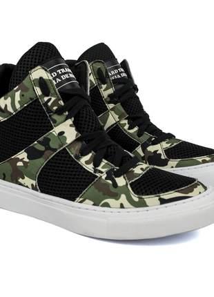 Tênis sneaker moda fitness  camuflado e preto