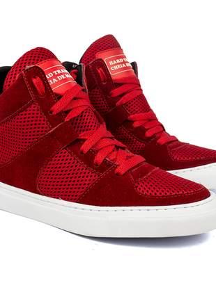 Tênis sneaker moda fitness  vermelho