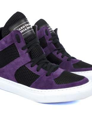 Tênis sneaker fitness  violeta e preto moda fitness