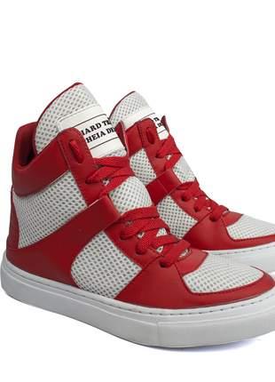 Tênis sneaker fitness  vermelho e branco