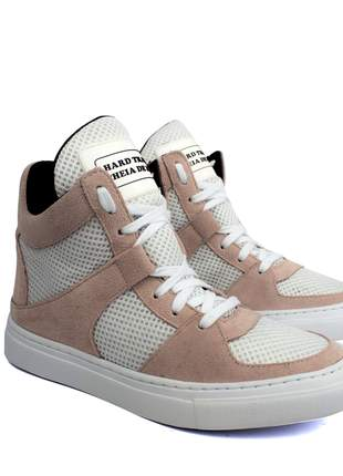 Tênis sneaker moda fitness nude e branco