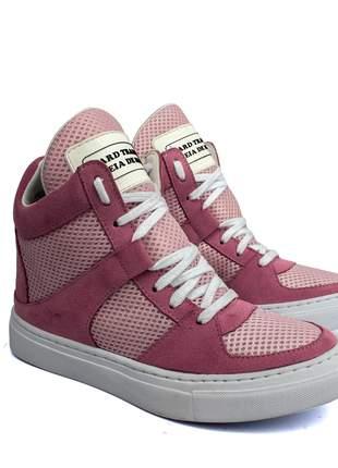 Tênis sneaker moda fitness  rosa bebe