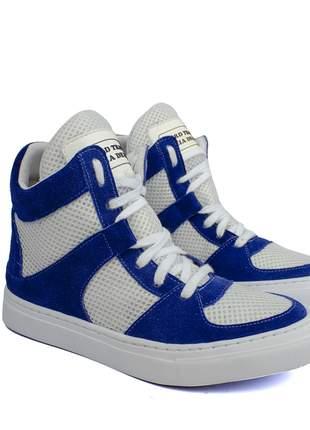 Tênis sneaker fitness  azul bic e branco