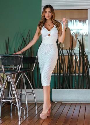 Vestido off white midi renda elegante
