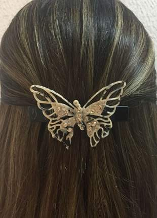 Presilha de cabelo em acetato - borboleta com cristais caramelo