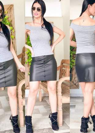 Mini saia em couro eco feminina