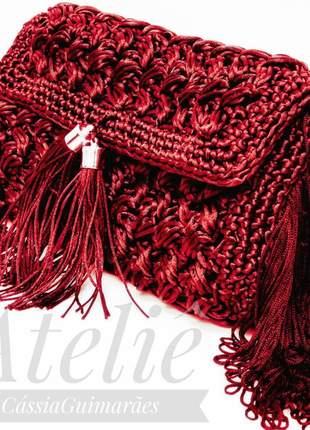 Bolsa safira. cássia guimarães,crochê,transversal,festa,franja,tiracolo,clutch,de mão