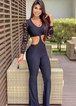 Macacão feminino manga longa sol