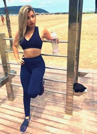 Conjunto fitness power potential - legging e top azul marinho - frete grátis sul e sudeste