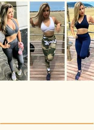 Kit 3 conjuntos fitness power potential - legging e top | frete grátis