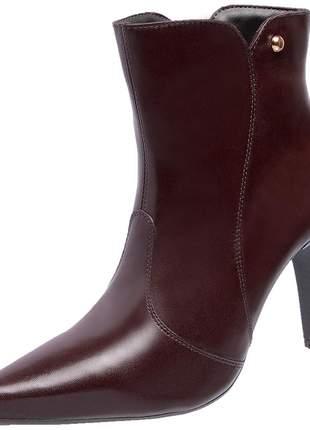 Bota social feminina em couro legítimo 2260 havana