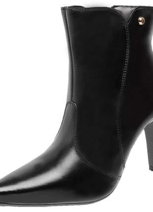 Bota social feminina em couro legítimo 2260 preto