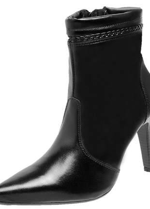 Bota social feminina em couro legítimo 2261 preto