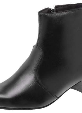 Bota feminina couro cano curto 2310 preto bico quadrado