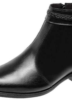 Bota botina em couro legítimo cano curto 3432 preto - promoção