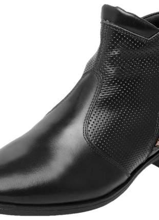 Bota botina em couro legítimo cano curto 3434 preto