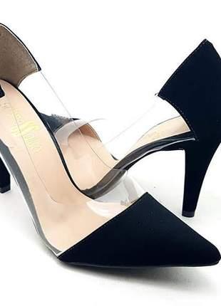 Sapato scarpin sobressalto preto  transparente