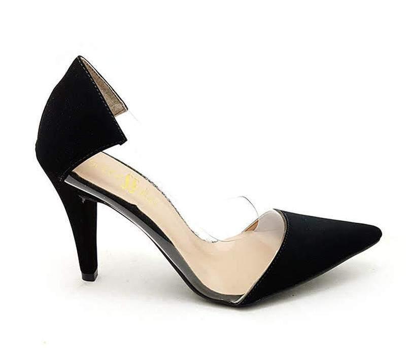 4361c85c84 Sapato scarpin sobressalto preto transparente - R  109.90 (salto ...