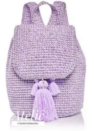 Mochila alba. cássia guimarães,crochê,para academia,viagem,saco,tiracolo,grande,de mão