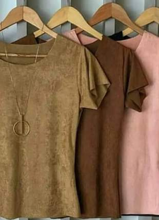 Blusa feminina em tecido suede camisa outono inverno