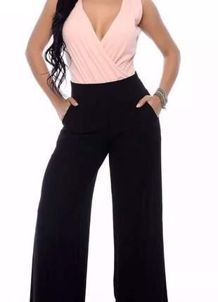 Calça feminina pantalona em tecido de crepe com zíper calça