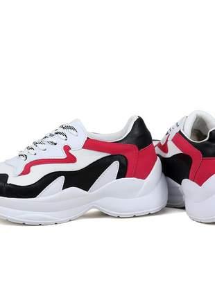 Tênis feminino dad sneaker esportivo casual branco