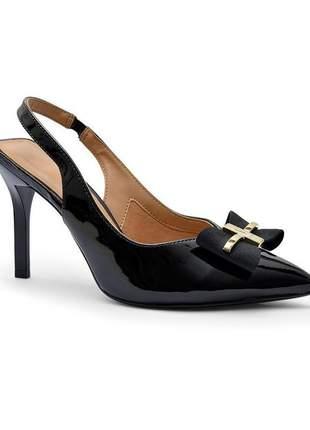 Sapato scarpin feminino vizzano salto alto laço preto verniz