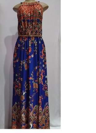 Vestido longo feminino estampado azul/floral