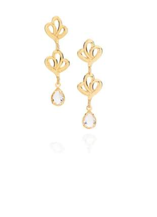 Brincos rommanel formato flor folheado ouro 18k 525175