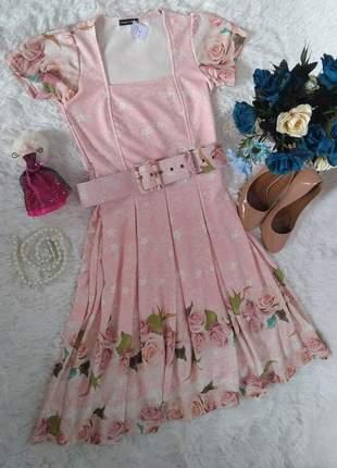 Vestido midi rose floral
