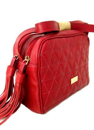 Bolsa transversal couro feminina d'elpis - ref 8146 vermelha