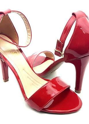 aa14fbb7c2 Sandália feminina sobressalto salto alto fino vermelha