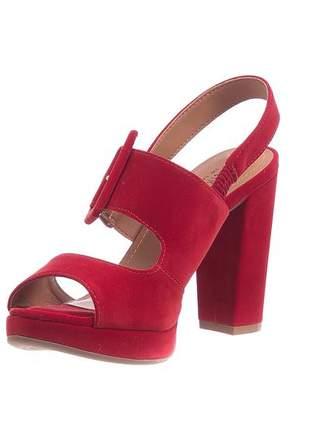 Sandália meia pata camurça vermelha - 8411-788