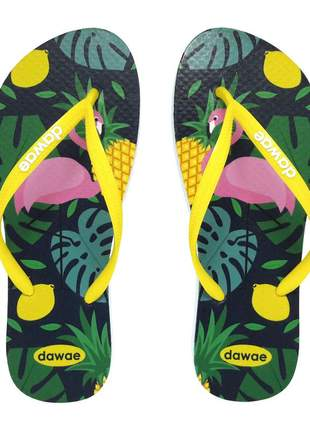 Chinelo dawae slim flamingo tropical - amarelo