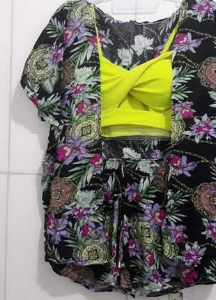 Conjunto short com kimono