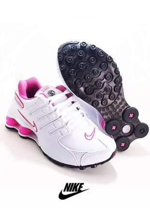 Tênis nike shox feminino branco /rosa
