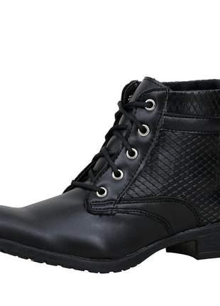 Bota coturno magi shoes cano curto salto baixo preta