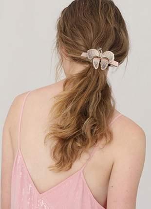 Presilha de cabelo em acetato borboleta chic rosé