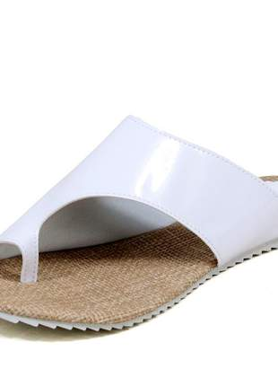 Sandália rasteirinha mr. gutt lançamento verniz branco