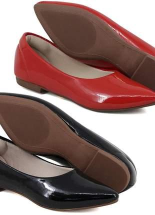 Kit 2 pares de sapatilhas bico fino verniz preto e vermelho