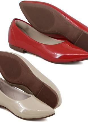 Kit 2 pares de sapatilhas bico fino verniz nude e vermelho